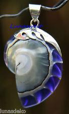 Nautilus Anhänger Kette Sterlingsilber Muschel Schnecke Shell Perlmutt lila Blau