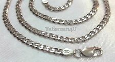 "22"" REAL 925 STERLING SILVER Rhodium Plated Curb Chain Necklace 4 mm Men Jewelry"