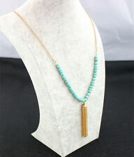 Natural Turquoise Beaded Pendant Tassels Gold Plated Long Sweater Chain Necklace