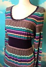 INC International Concepts Sweater Dress Multicolored Stripes Scoop Neck Size MP