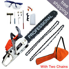 CHAINSAW 58CC PETROL CHAINSAW WITH 2x CHAINS COMPLETE TOOLS KIT 2017 New
