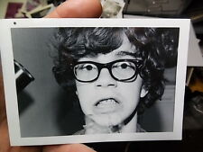 VINT SNAPSHOT PHOTO, GEEKY BOY W GLASSES SHOWS OFF HIS NEW BRACES