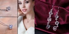 Diamond Box Cube Rhinestone Crystal Pendant Silver Necklace Earring Set Chain925