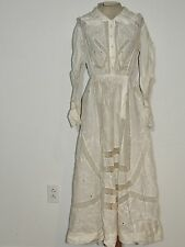 Edwardian White Cotton Embroidered & Lace Lawn / Tea Dress SM