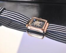 1940s ROLEX Vintage Rose Gold Watch Deco Rectangle Case Hooded Lugs Tuxedo Dial