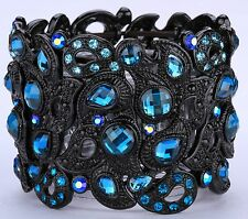 Wide Peacock Style Stretch Cuff Bracelet Crystal Rhinestone Black Blue BD14