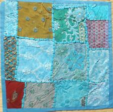 "Indian sari patchwork cushion cover16"" square turquoise multi"