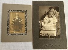 2 Early 1900 Matted Photos Baby Toddler in Fur Trimmed Coat 1 Identified