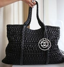 VERIFIED Authentic Chanel Black Textured Lambskin Hidden Chain XL Tote Bag