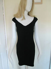 LIPSY LONDON - BLACK SWEETHEART  NECK SLEEVELESS  BODYCON MINI DRESS SIZE 8