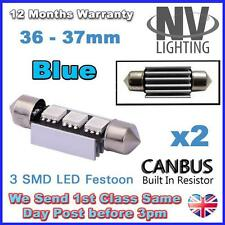 2 x 37mm Canbus Blue LED Number Plate Interior 37mm C5W 239 3 SMD Bulbs