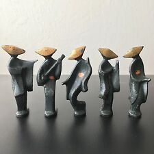 VINTAGE CAST METAL JAPANESE MODERNIST GEISHA GIRL FIGURINE STATUE SCULPTURES MCM