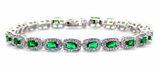 Argento Sterling Smeraldo e Diamanti 14.86ct Bracciale Tennis (925)