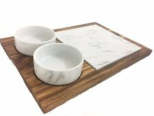 Wooden Board with 2 Porcelain Marble Effect Bowls and Marble Board