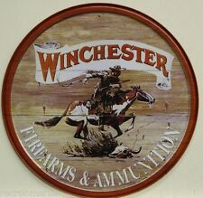 "WINCHESTER firearms and ammunition 12"" metal sign vintage cowboy logo gun 975"