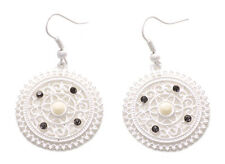 Paradise Intricate Grill Detail & Diamanté Encrusted White Chrome Earrings(Ns17)