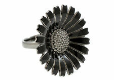 Georg Jensen Daisy Ring Medium Black Enamel Ruthenium Plated Silver Size 55 M.5