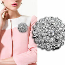 Wedding Bridal Silver Rhinestone Crystal Pearl Brooches Women Bouquet Pin Gift