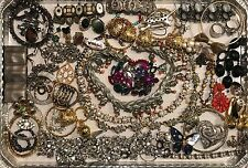 Huge Vintage Junk Drawer Jewelry Rhinestone Harvest Craft SCRAP Lot, READ