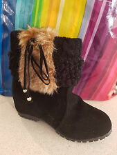 Women's Warm Winter Faux Fur Tassel Knit Hidden Wedge Ankle Boots Size – AU  6.5