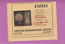 HANNOVER, Werbung 1942, DRD Dreyer, Rosenkranz-Droop AG Manometer Thermometer