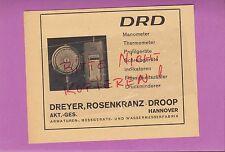 HANNOVER, Werbung 1942, DRD Dreyer, Rosenkranz-Droop AG Manometer Thermometer