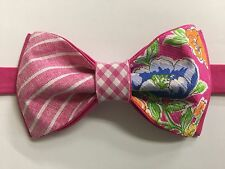 NEW Handmade Custom Bow tie Floral Striped Pink Pre Tied Adjustable Wedding Tie
