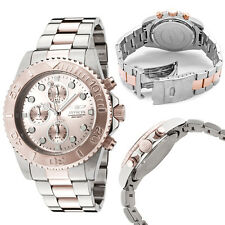 INVICTA PRO DIVER 2,TWO TONE ROSE GOLD,SILVER+CHRONO 200M DIAL WATCH 1775+BOX