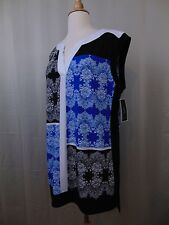 Alfani Petite Sleeveless Color Block Scroll Printed Tunic Top PXL #1877