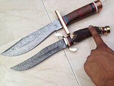 CUSTOM HAND MADE DAMASCUS STEEL HUNTING FIX BLADE KNIFE . 45(lot of 2).