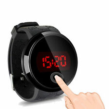 Impermeabile Orologio trendy LED Touch Screen Nero Data Day Silicone Uomo