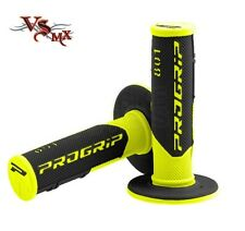 Pro Grip Progrip 801 Grips Flo Yellow Black Motocross Half Waffle Soft Density