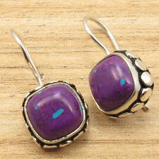 PURPLE COPPER TURQUOISE Earrings ! 925 Sterling Silver Plated Over Solid Copper