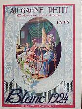 """CATALOGUE MODE 1924 """" AU GAGNE PETIT """" LE BLANC"""