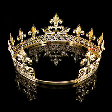 Men's Imperial Medieval Fleur De Lis Gold King Crown 8.5cm High 18-22cm Diameter