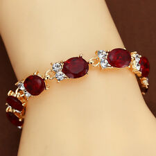 Hot 14KT Gold Filled Oval Ruby White Topaz Women Passion Bracelets Chain Jewelry