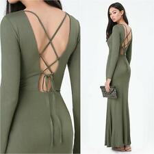 BEBE OLIVE GREEN TIE LACE BACK LONG SLEEVE DRESS NEW NWT XSMALL XS