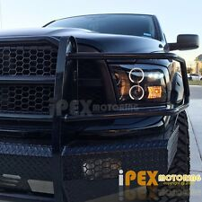 For 2009-2016 Dodge Ram 1500 2500 3500 Halo Projector LED Shiny Black Headlights