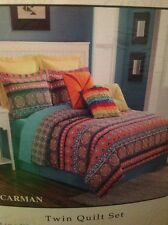FIESTA CARMAN TWIN QUILT SET 100% COTTON MOROCCAN MEXICAN COLOR PRINT REVERSIBLE