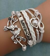 NEW Infinity Love Pigeon Heart Pearl Leather Charm Bracelet plated Silver T1DA