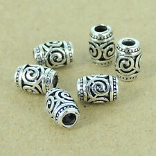 6 Pcs Sterling Silver Beads Barrel Charms Vintage Jewelry Making 7x5mm WSP380X6
