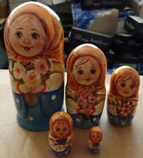 Superb  QUALITY  girl with flowers RUSSIAN NESTING DOLL 5 PCS  LARGE 6.3*
