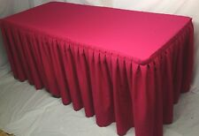 6' ft. Fitted Polyester Double Pleated Table Skirt Cover w/Top Topper Hot Pink