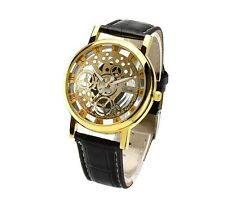 New Mens Stainless Steel Faux Leather Band Sport Quartz Mechanical Wrist Watches