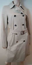 BURBERRY Women's Beige Double Breasted Collared Trench Coat Rain Mac UK10; US8