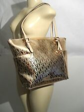 New  Michael Kors Jet Set East West Tote Bag Rose Gold Metallic Mirror Shopper