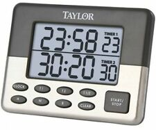 Taylor Dual-Time Cooking or Event Digital Up or Down Timer With Clock and Alarm