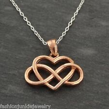 Infinity Heart Necklace - Rose Gold Plated 925 Sterling Silver - Love Gift NEW