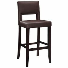 Linon Espresso Wood Bar Height Stool Home Furniture Chair Upholstered Seat New
