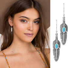 Tibet Retro Feather Earrings Chain Leaf Dangle Eardrop Fashion Handmade Jewelry